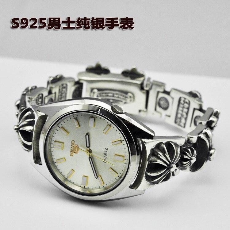 Серебряные часы тайский серебряный Стиль Мода ретро стерео крест цветок Для мужчин браслет кварцевые часы оптом