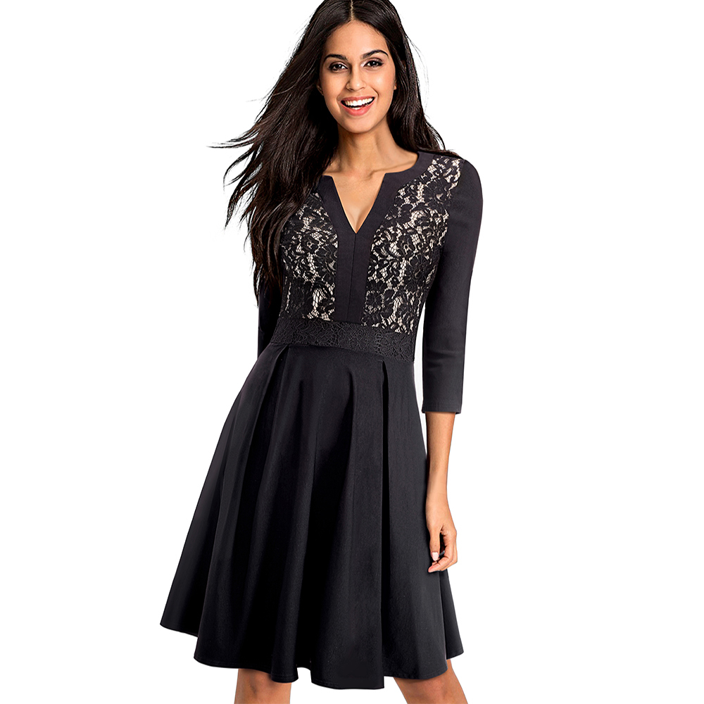 Women Elegant Floral Lace Deep V-Neck Contrast Patchwork Tunic Vintage Casual Work Party Fitted Flare A-line Skater Dress EA056