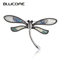 Elegant Party Brooch Antique Silver Plated Abalone Shell Dragonfly Brooches Broches Hijab Pin Brand Bijoux For
