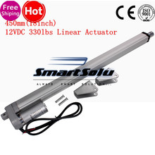 Elektrikli Lineer Aktüatör 12 v DC motor 450mm Inme Lineer hareket kontrolörü 6 mm/sn 1500N Ağır yük Kaldırıcı
