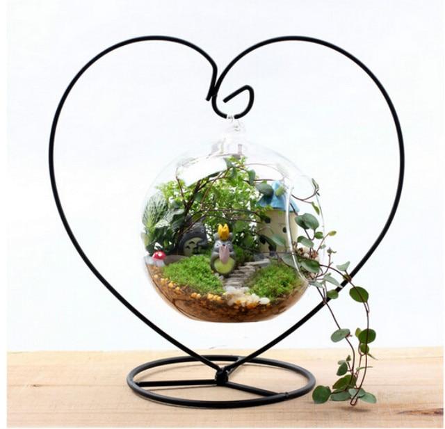 3pcs Heart Shaped Black Metal Hanging Flower Plant Vase Pot Stand Holder Home Diy