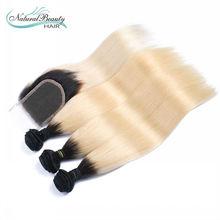 Ombre Brazilian Hair Straight 1B613 Brazilian Hair 3 Bundles with 1 closure Brazilian Hair Weave Bundles Two Tone Human Hair