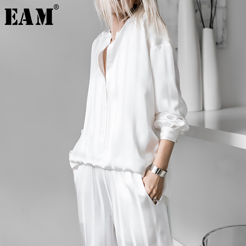 [EAM] 2020 New Autumn Winter Round Neck Long Sleeve White Striped Loose Wide Leg Pants Two Piece Suit Women Fashion Tide JU253