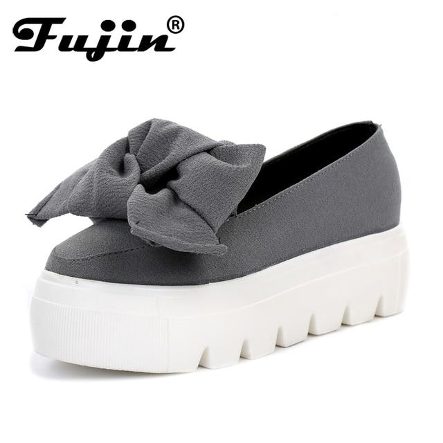 Fujin 2019 Yeni bahar mokasen bayan flats Moda creepers ayakkabı Yay bayan flats loafer'lar Bayanlar Üzerinde Kayma Platformu 5 CM ayakkabı