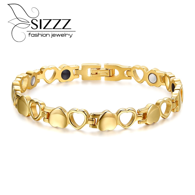 New Ladies Jewelry Heart Golf Bracelet Stainless Steel Magnetic Stone Women Love Bracelet in Velvet Bag