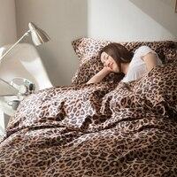100% Египетский хлопок с леопардовым принтом пододеяльник набор королева король размер, атлас простыни наволочки, роскошные постельные прин...