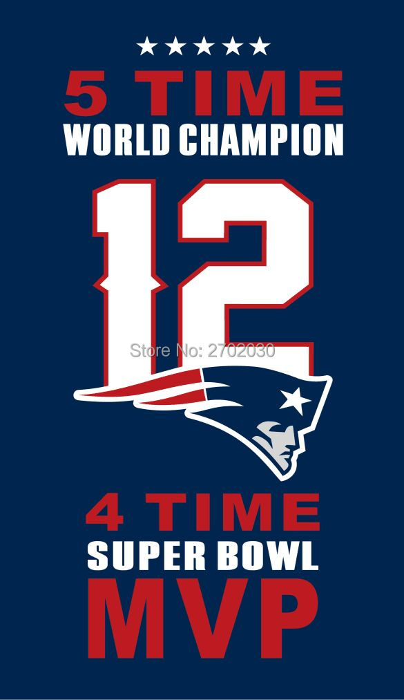 Brady 12 New England Patriots Flag Banners 5 Champion 4 MVP 3ft X 5ft Banner Super Bowl Fan Pat Patriot Flag Tom Brady