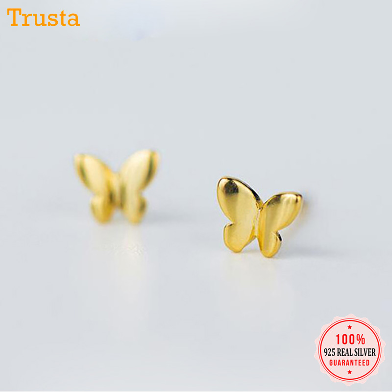 0a963142262ff US $2.45 50% OFF|Trusta 100% 925 Sterling Silver Jewelry Fashion Cute Tiny  5mmX4mm Gold Butterfly Stud Earrings Gift For Girls Kids Lady DS180-in Stud  ...