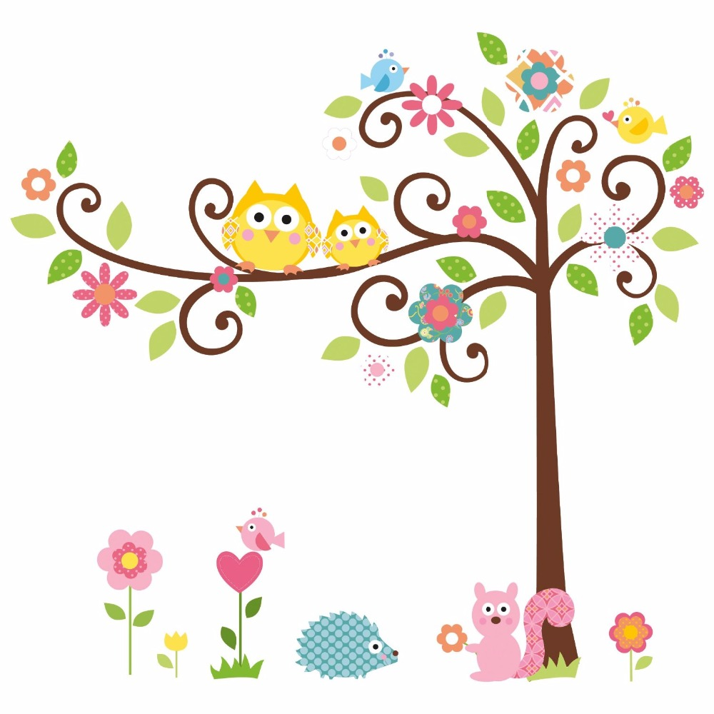 Cartoon Owl Tree Squirrel Removable Home Decal Wall Stickers Art Decor Wallpaper For Nursery Kids Bedroom