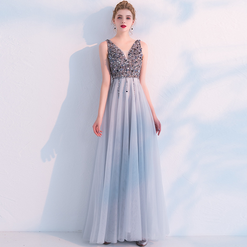 Mrs Win 2019 New Elegant Evening Dress Sexy V-neck Lace Appliques Beading Prom Gown Formal Dress Robe De Soiree