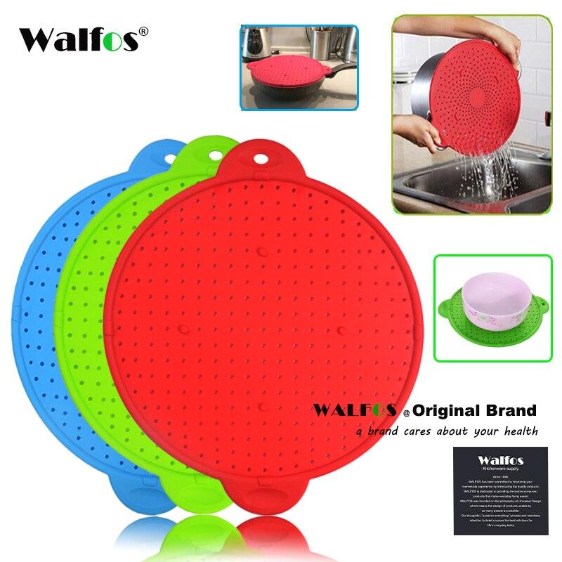 WALFOS 3 en 1 salpicadero de pantalla espray protector de cocina colador Trivet olla tapa pan tapa de silicona tapón de derrames colador de lavado