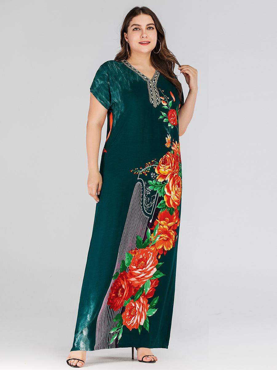 Image 5 - Boho Ethnic Women Short Sleeve Maxi Dress Plus Size Loose Print Floral Dresses Summer V neck Casual Loose Kaftan Dubai Dress New-in Islamic Clothing from Novelty & Special Use