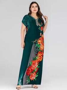 Image 5 - Boho אתני נשים קצר שרוול מקסי שמלה בתוספת גודל רופף הדפסת פרחוני שמלות קיץ V צוואר מקרית Loose קפטן דובאי שמלה חדש