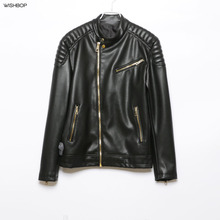 f8a7601becf9 EICHOS Mens Quilted Leather Jacket Spring Autumn Slim