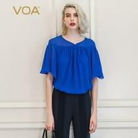 VOA Batwing Pullover Women Tops Casual Loose Under T Shirt Sweetheart Neckline Crop Top Silk Chiffon Tee Mesh Harajuku Blue B879