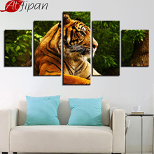HD Prints Poster Artworks Decor For Living Room Wall Art Modern 5 Pieces Animal Tiger Painting Framework Modular Canvas Pictures