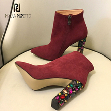 Prova Perfetto 2018 new colorful crystal studded high heel ankle boots women winter shoes pointed toe martin boots mujer zapatos