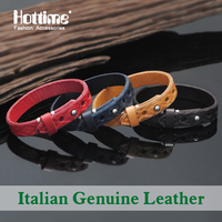 Hottime Promotion 4 Colors Handmade Fashionable Italian Genuine Leather Bracelet Wristband For Men And Women Bracelets Bangles