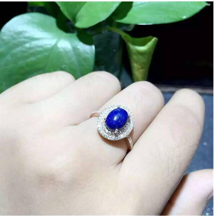 Natural Lapis ring Free shipping Natural real Lapis 925 sterling silver Ring Per jewelry 7*9mmNatural Lapis ring Free shipping Natural real Lapis 925 sterling silver Ring Per jewelry 7*9mm