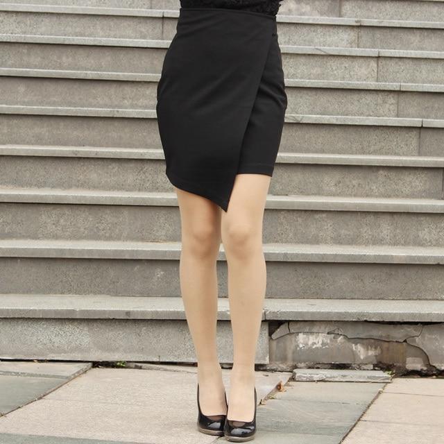 a3109f6b3548c3 Basic Knit Pencil Irregularity Fashion Mini Skirt Tight Fitted High Waist  Straight Black/White Office
