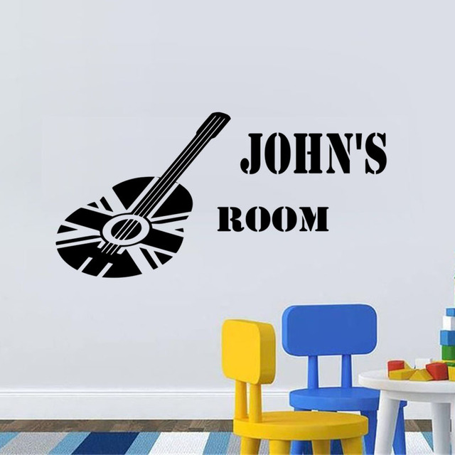 DCTOP Personalised Guitar Vinyl Wall Sticker Custom Name Art Decal - Custom vinyl wall decals removable