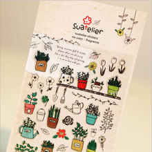 1x korean Creative gardening crystal Sticker Diary Scrapbook decorative stickers child kawaii DIY stationery