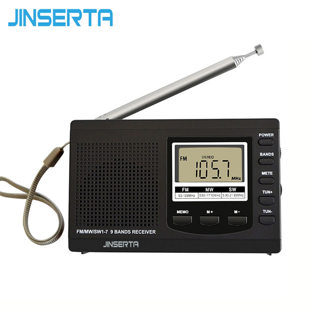 JINSERTA Portable Mini Radios FM/MW/SW with Antenna Digital Alarm Clock FM Radio Receiver Digital Portable fm receiver clock
