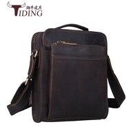 2017 модная мужская сумка мессенджер Мужская crazy horse кожаная сумка через плечо дизайнерская известная брендовая деловая винтажная сумка чере