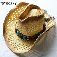 TOYOOSKY 2017 Men Women S Summer Classic Western Cowboy Straw Hat Beach Felt Sunhats Party Cap