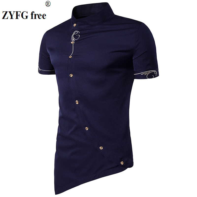 New Arrivals Men's shirt fashion Oblique Button Irregular short Sleeve solid Embroidery pattern Fit Male Casual Shirt EU/US size