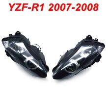 купить For 07-08 Yamaha YZFR1 YZF R1 YZF-R1 Motorcycle Front Headlight Head Light Lamp Headlamp CLEAR 2007 2008 дешево