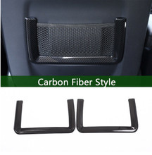 2 Pcs Carbon Fiber Style Rear Row Net Frame Trim For Landrover Range Rover Sport Evoque 2012-2017 Car Accessories carbon fiber style abs plastic car rear row back seat net bag frame trim fit for maserati ghibli for levante car accessories