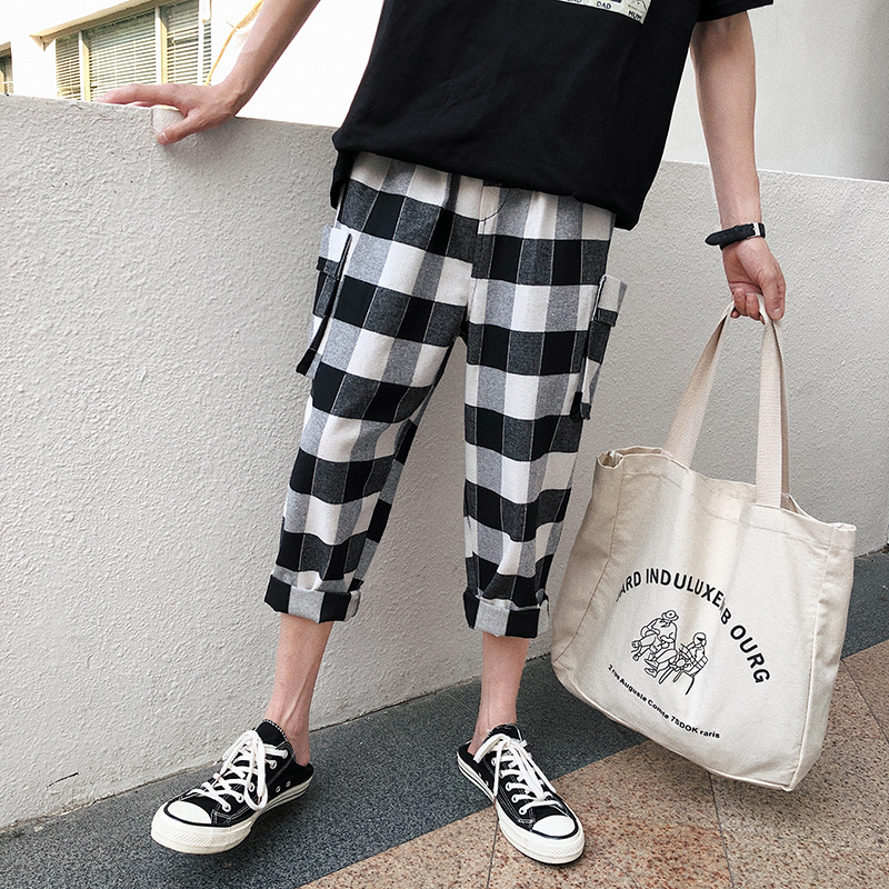 Exceed Fire Lattice Seven Part Haren Male Leisure Time Pants personality city boy casual wild fashion trend Free shipping