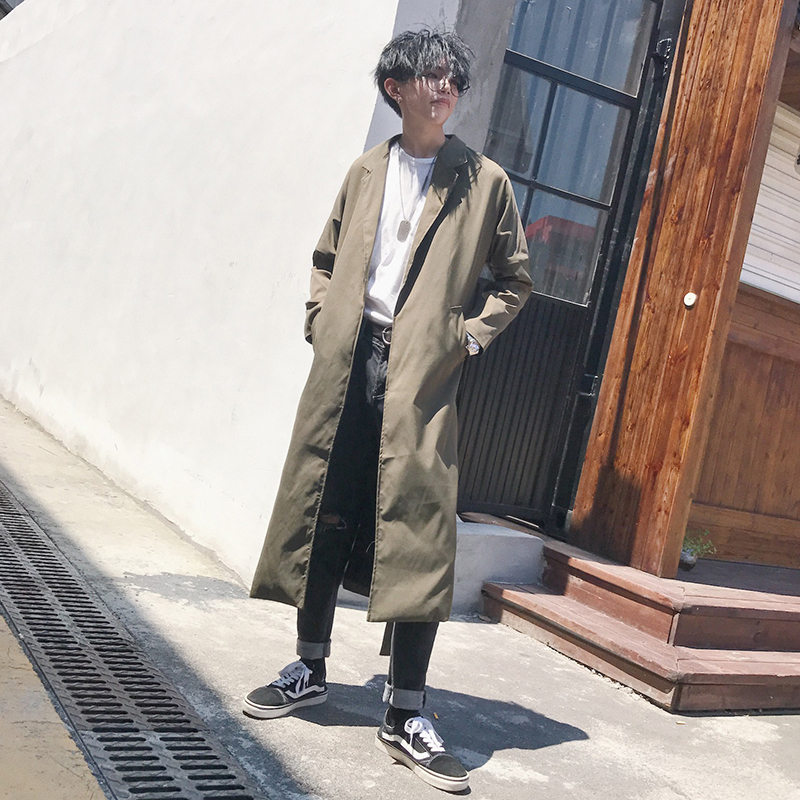 Spring Autumn Fashion Design Long   Trenchs   Men Casual Long Loose Coats With Belt High Street Green Windbreaker For Man YT5089