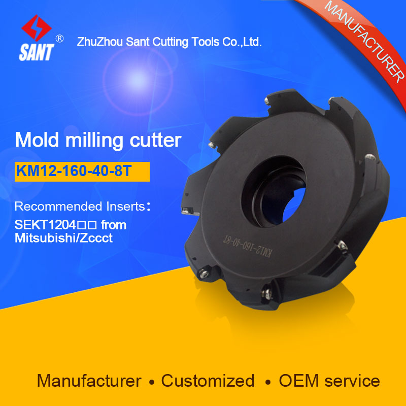 Zhuzhou Sant Face Milling Cutter KM12-160-40-8T for carbide Inserts SEKT1204 yw1 4160511 zhuzhou zccct cemented carbide 30pcs box milling machine clip blade square face milling cutter for stainless steel