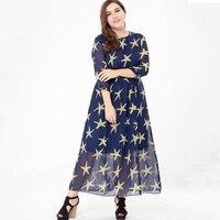 L 6XL Plus Size Women Long Dress 2017 Summer Dress Big Size Women Clothing Lady Boho Maxi Dress Star Pattern vestidos mujer 5XL