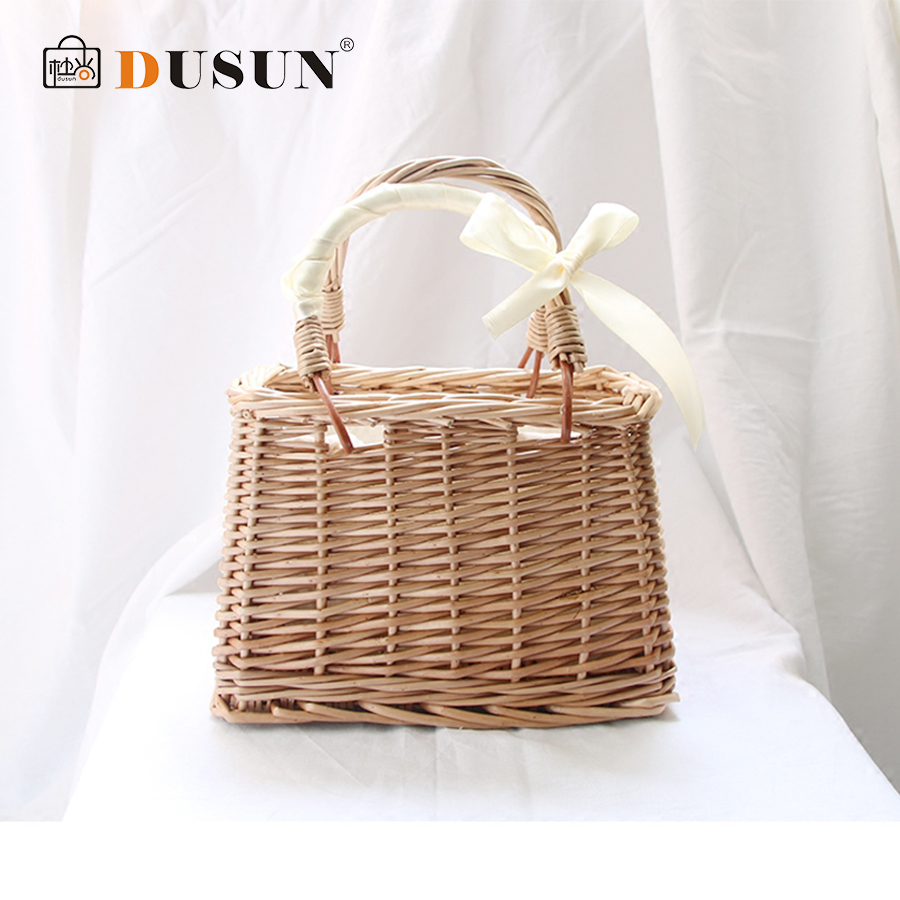 DUSUN Summer Hand-woven Straw bag Ribbons Bamboo Package Weaving Bohemian Holiday Beach Bag Bow Hollow Female Causal Box Totes wegogo women handbag new thailand straw bag ladies travel holiday summer beach bohemian boho weaving woven straw tote bag