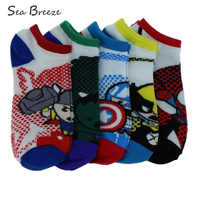 92c64532ac44 Sea Breeze 5 pairs Marvel comics avenger captain cotton america cartoon  boat socks Spider-Man Raytheon Men Women Couple socks