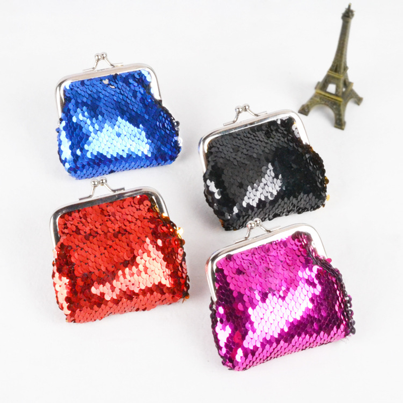 Bamboo Charm Fashion Mini Women Purse Casual Metal Frame Coin Wallet Sequins Beading Small Lady Clutch Cubby Case Color Random