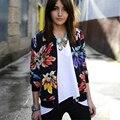 Hot Sale Autumn Digital Flowers Printing Bomber Jacket Women Fashion Stand-up Collar Full Sleeve Zipper Jacket Coat Female S-XL