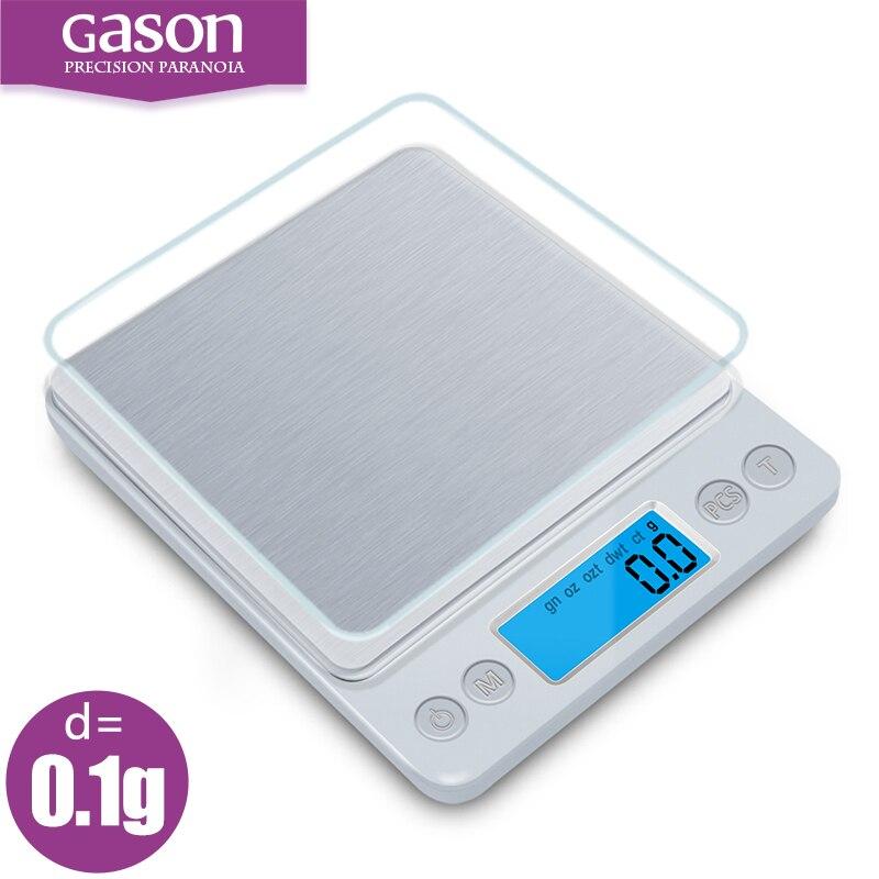 GASON Z1s bilance Da Cucina Mini tasca portatile di precisione in acciaio inox gioielli Bilancia elettronica di peso grammi d'oro (3000g x 0.1g)