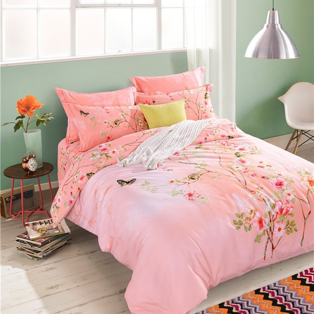 Oriental Style Flowers And Birds Print Pink Bedding Set Queen King Size  Cotton Duvet Cover Bed