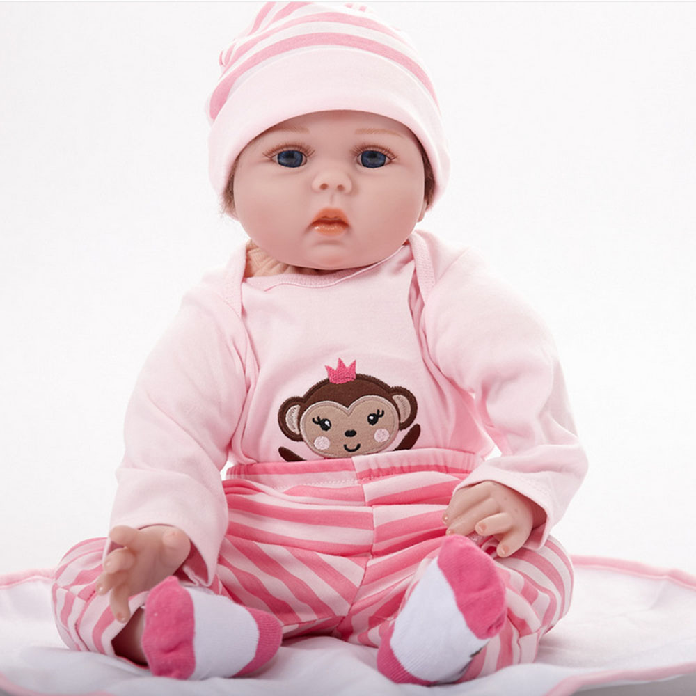 22 inches Realistic Reborn Girl Doll Soft Silicone Cute Newborn Baby with Cloth Body Toy for Kids Birthday Christmas Gift 22 inches realistic reborn girl doll soft silicone cute newborn baby with cloth body toy for kids birthday christmas gift