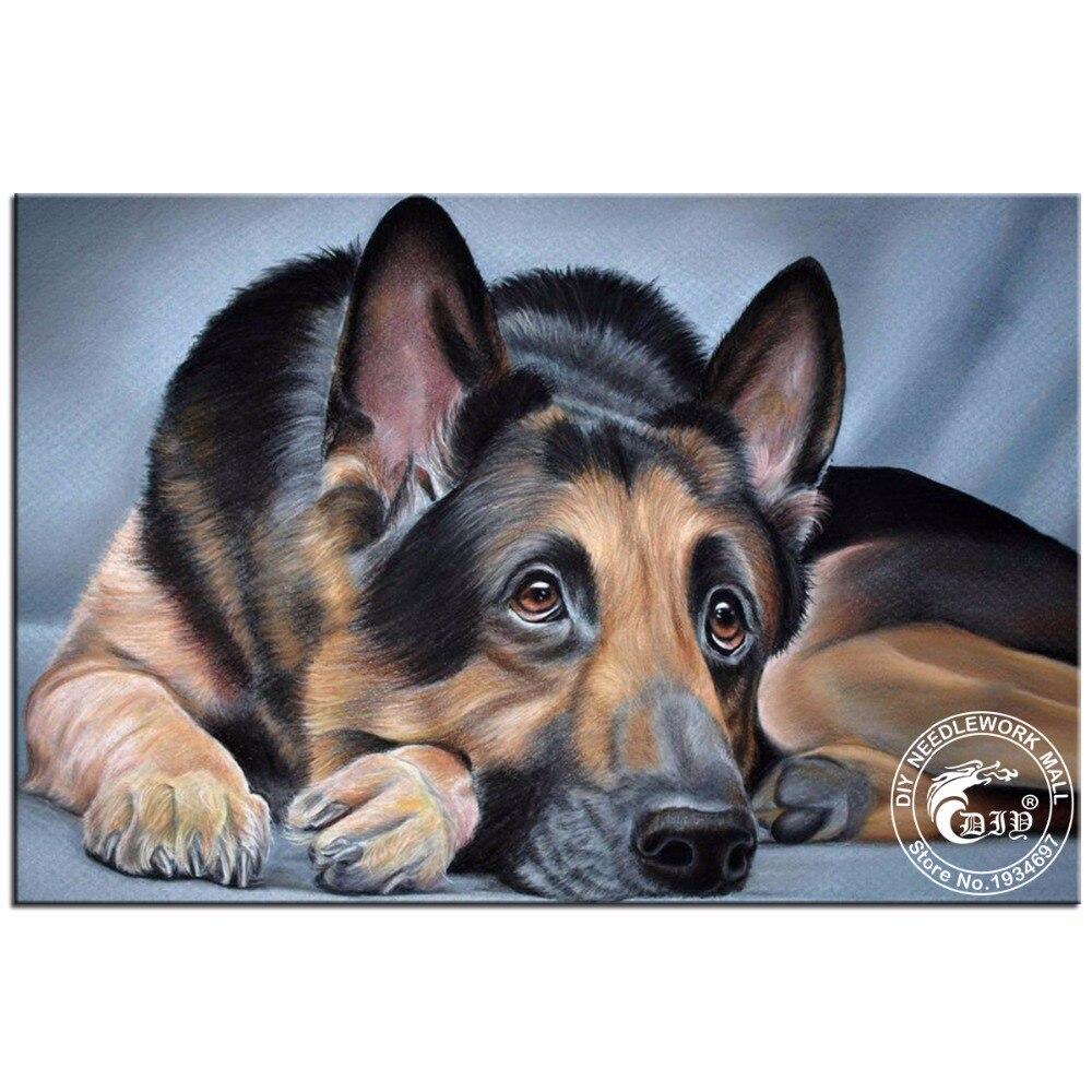 5d Diamond Embroidery Diy Painting German Shepherd Mosaic Needlework Picture Home Decor Animals