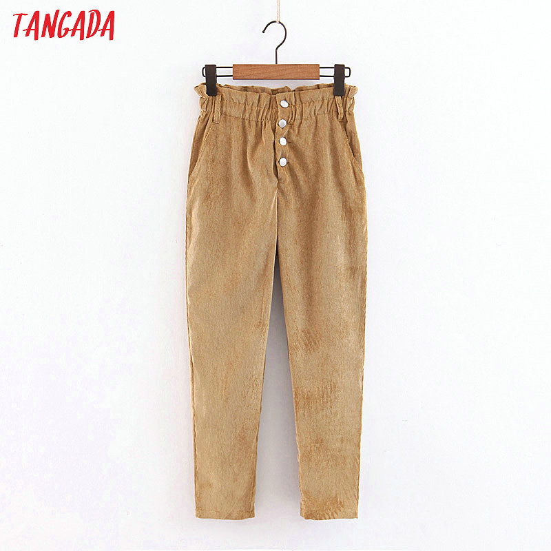 Tangada Women Vintage High Waist Corduroy Trousers Pants Button   Pocket Pants Casual Fashion Female Harem Pants QB86
