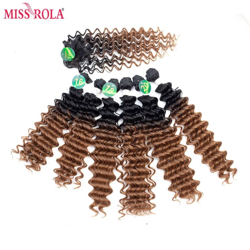 Синтетические волосы для наращивания Miss Rola, Омбре, глубокая волна, 18-20 дюймов, 6 шт./упак. 200 г, канекалоновые волосы для женщин