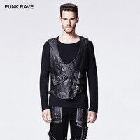 PUNK RAVE Men's Punk Style Vintage PU Leather Warrior Man Vest Gothic Black Sleeveless Slim Fitting Waistcoats with Pocket