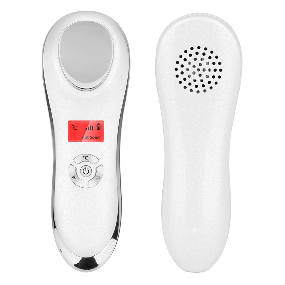 Ultrasonic Face Skin Care Spa Beauty Machine Cryotherapy Hot Cold Massage Hammer Face Lifting Firming Wrinkle Remover Massager купить недорого в Москве