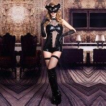 New sexy underwear Black PU perspective cat rabbit girl uniform temptation role playing costumes