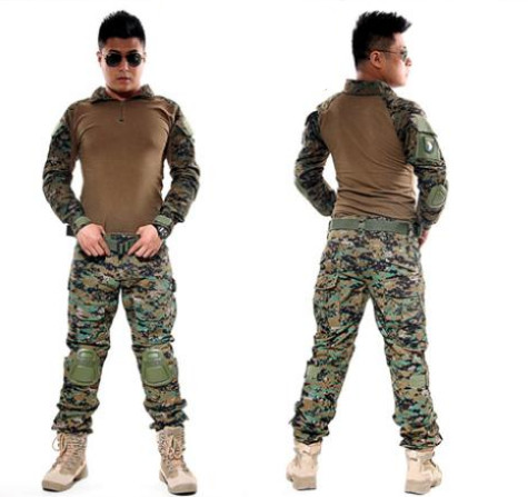 ФОТО New Men Python lines Airsoft Army Military Uniform Tactical Navy Seal Combat Frog Suit with Knee Pads Multicam Garments sets